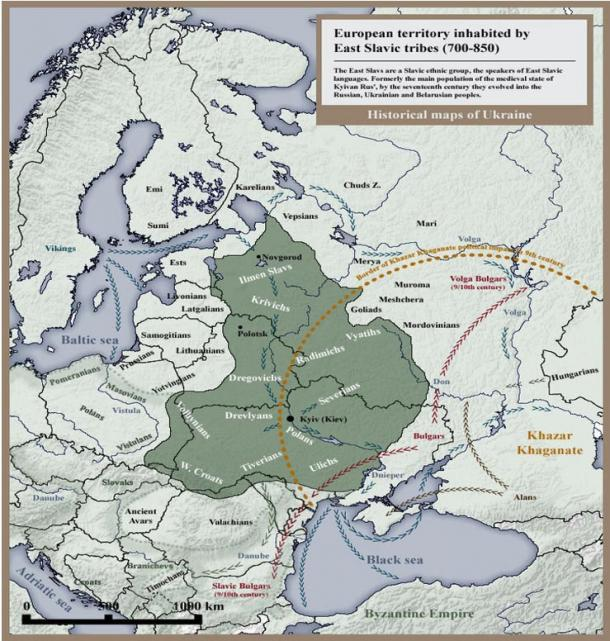 Map of European territory inhabited by East Slavic tribes in 8th and 9th century.