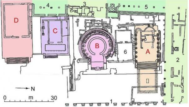 Mapa de la zona sagrada de Largo Argentina, en Roma.  En rojo los cuatro templos A, B, C, D.