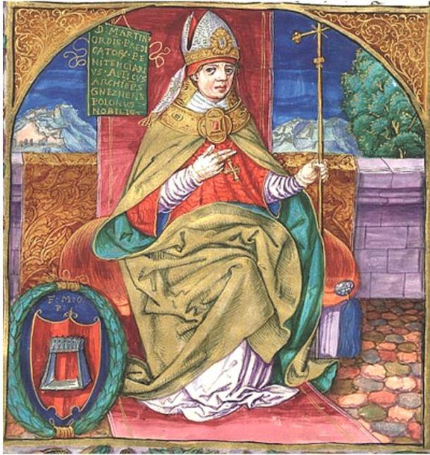 Martinus Polonus, il frate domenicano che ha scritto un resoconto vivido della vita di Papa Joan, ma ha rivelato poco le sue fonti. Qui egli è raffigurato come l'arcivescovo di Gniezno, manoscritto illustrato prima al 1535.