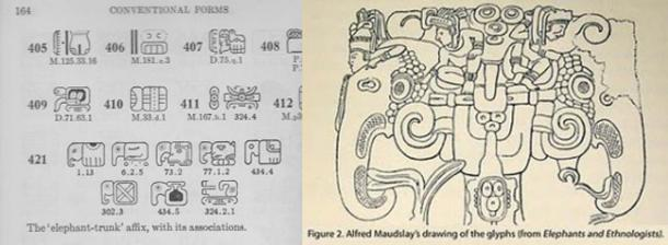 Mayan glyphs (left) – Credit: William Gates. Mayan depiction (right) – Credit: Alfred Maudslay. (Author provided)