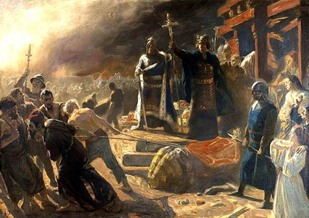Medieval Christians destroyed many pagan temples and monuments. Here Bishop Absalon topples the god Svantevit at Arkona in 1169 proving that it was just an idol