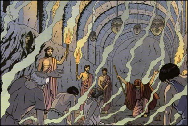 Artist's depiction of a ritual inside the Necromanteion. From Marc Jailloux