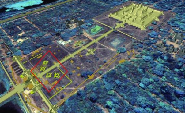 Panorámica de Angkor Wat que muestra la relación entre los enterrados 'torres' y la posición del principal templo de Angkor Wat