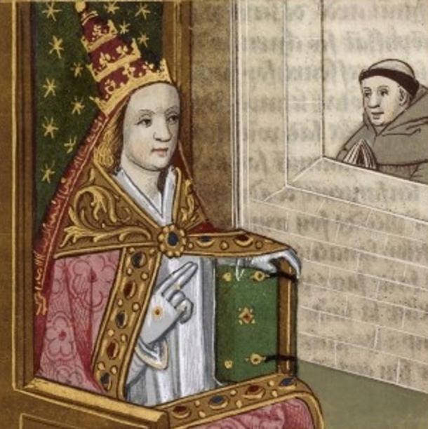 Pittura della Papessa Giovanna a Tiara papale, in mostra presso la Bibliothèque Nationale de France, circa 1560.The artista è sconosciuta.