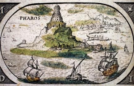 The lighthouse was constructed to protect the ships entering Alexandria's harbor. 'The Pharos of Alexandria', Atlas Jansson Jansonius, 1630