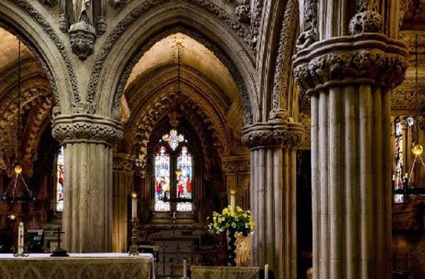 Inside the Rosslyn Chapel, Roslin, Scotland.