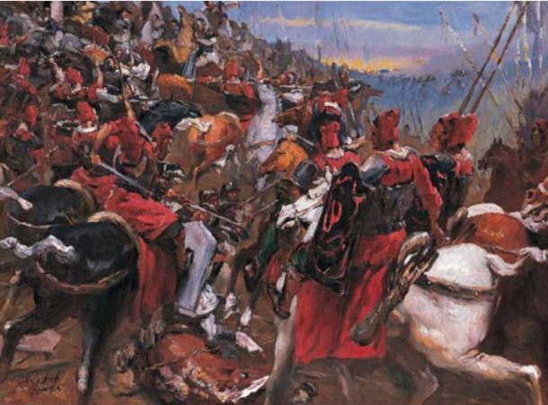 Сцена битви при Гайсії.