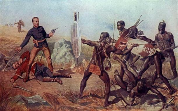 Shaka, legendary African Ruler, demonstrated firearms ineffective against the quick encirclements of charging spearmen. Though it ultimately failed against more modern rifle and artillery fire in 1879, this practice proved partially successful at Isandlwana. (Barbe-Noire / Public Domain)