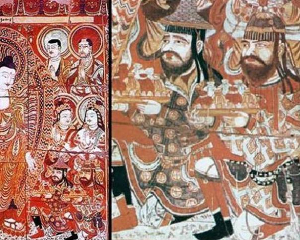 comerciantes sogdianas haciendo donaciones a Buda.  fresco del siglo noveno de los Mil Buda Cuevas Bezeklik cerca de Turfan, Xinjiang, China.