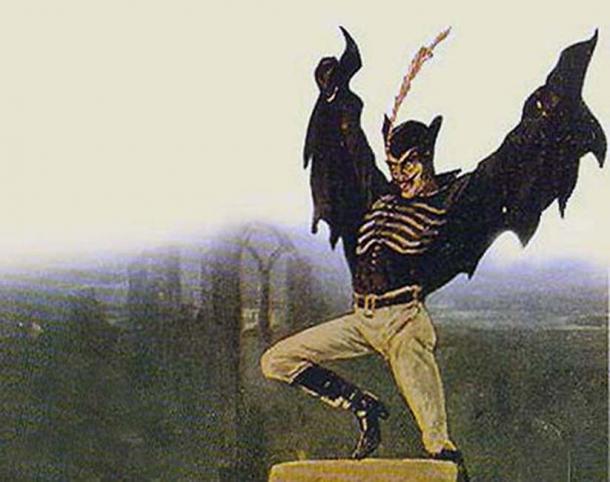 Spring Heeled Jack tel que représenté par un artiste anonyme.  (Domaine public)