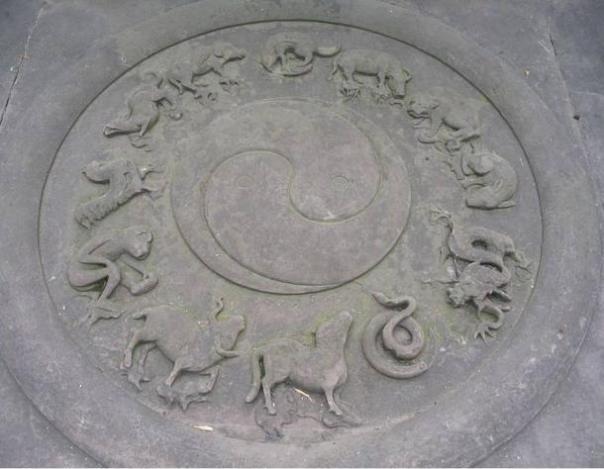 Daoístas (taoístas) símbolos tallados en piedra: yin-yang y los animales del zodiaco chino.  Qingyanggong templo, Chengdu, Sichuan, China.