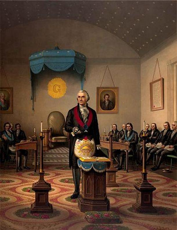 "Impression de ""Washington As Master Mason.""  (Domaine public)"