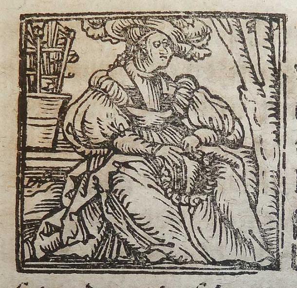 illustrazione xilografia del segno zodiacale Vergine usato da Alessandro e Samuel Weissenhorn di Ingolstadt.