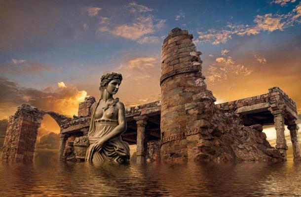 Atlantide era descritta come dotata di enormi pilastri d'ingresso e enormi mura del porto.