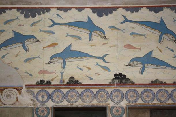 Détail de la fresque du dauphin, le palais minoen de Knossos, Crète, (1700-1450 av. J.-C.)