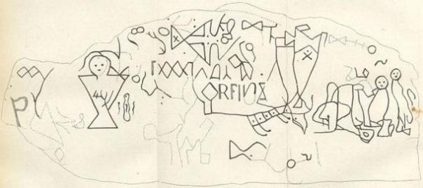 """1830 dibujo de los petroglifos Dighton Roca. Esta interpretación se utiliza a menudo para apoyar la (alias Vikingo) hipótesis """"nórdica""""."""