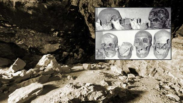 """""""There are eerie parallels between the legends of the Si-Ti-Cah and the tales of giants who dwelled south of Mount Shasta. Inset: Skulls photographed over 30 years ago by Don Monroe claimed to be giants unearthed from Lovelock Cave."""""""