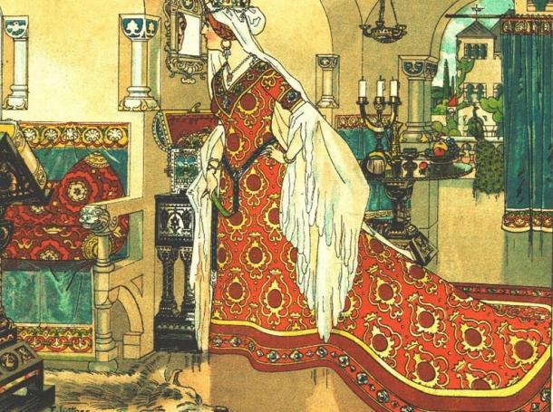 La cattiva matrigna di Biancaneve parla con il suo specchio magico