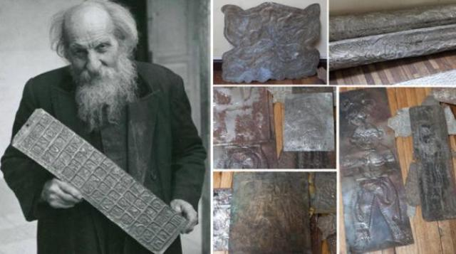 Left: Father Crespi holding a metallic artifact that appears to contain a series of hieroglyphs.Right: Photographs of Crespi's so-called 'Metallic Library'. Credit: Ancient-Origins.net.