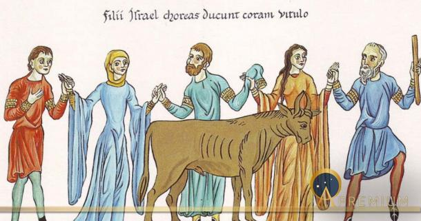 The Adoration of the Golden Calf – Picture from the Hortus deliciarum of Herrad of Landsberg (12th century) (Public Domain)