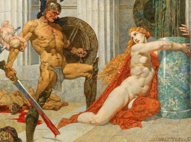 King Menelaus, seen here finding Helen at Troy, is best known as her husband.