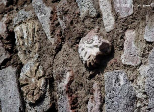 A war shield and a bird of prey's head are two of the Pre-Hispanic symbols discovered in the Mexican tunnel. Source: Edith Camacho, INAH