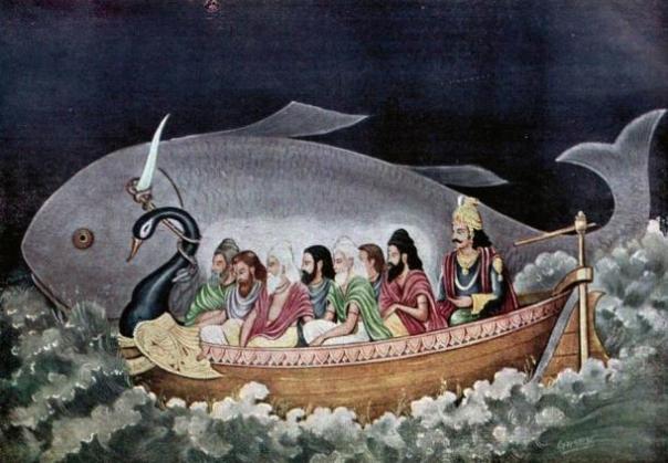 Hay similitudes entre la leyenda del diluvio hindú de Manu y el relato bíblico de Noé.  Aquí el avatar de Vishnú peces ahorra Manu durante el gran diluvio.
