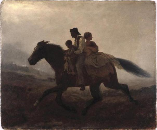 Los EE.UU. ferrocarril subterráneo era una red de rutas secretas y casas de seguridad utilizadas por los esclavos del siglo 19 para escapar a los estados libres y Canadá.  Pintura por Eastman Johnson, 1862.