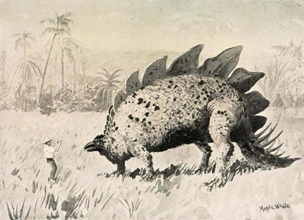 Une illustration du «Monde perdu» de Doyle dans lequel des explorateurs rencontrent des dinosaures au sommet du mont Roraima.