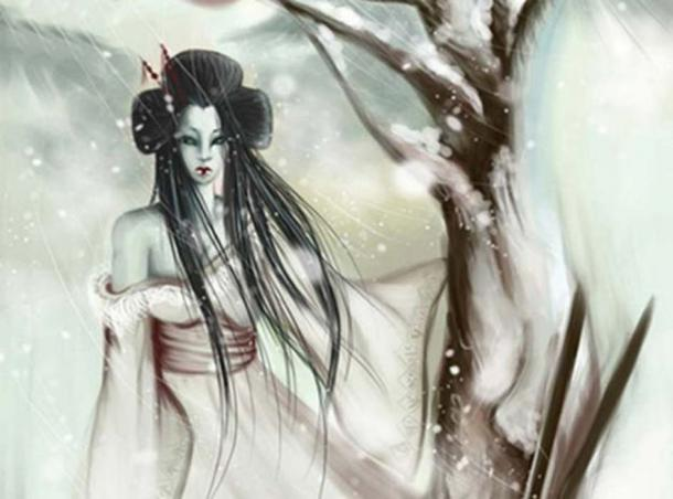 Détail d'une illustration moderne de Yuki-onna.  (CC BY SA)
