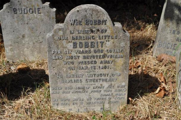 La pierre tombale de Bobbit.  (Photographie d'Eric Tourigny, prise avec l'autorisation de The Royal Parks)