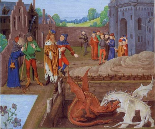 Illumination of a 15th century manuscript of Historia Regum Britanniae showing king of the Britons Vortigern and Ambros waching the fight between two dragons