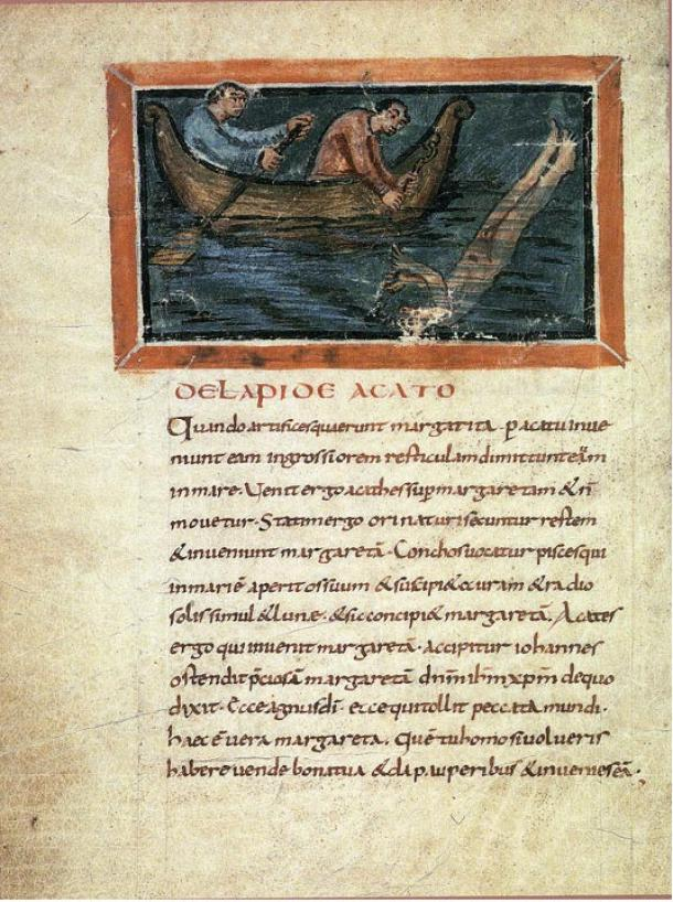 Catching of pearls, Bern Physiologus (9th century manuscript describing pearl diving)