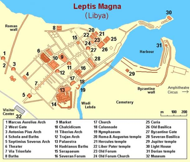 his map shows the many important sites in Leptis Magna, an ancient Roman city in Libya presently being protected by concerned Libyan citizens armed with Kalashnikovs.