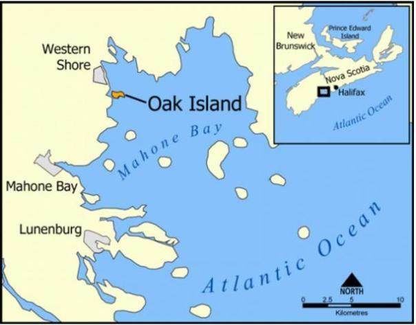 Un mapa que muestra Oak Island, Nueva Escocia, Canadá.