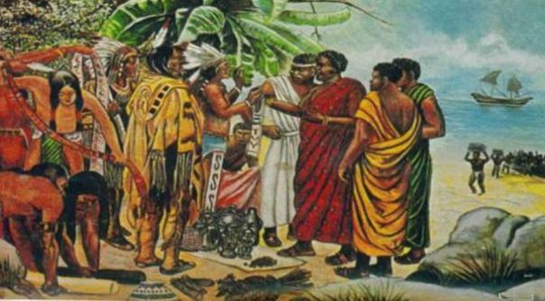 Musulmanes (algunos dicen incluyendo Mansa Abu Bakar II) cumplir con los nativos americanos.
