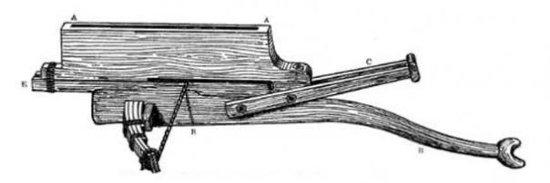 Un no-repetición de recurvo ballesta. Las utilizadas para la guerra serían recurvado