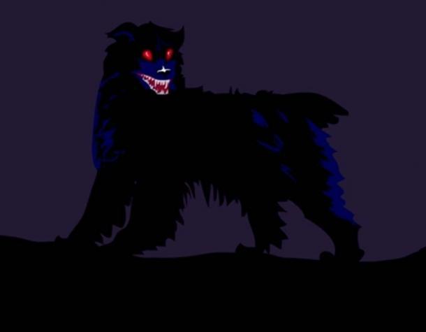 Un cane nero con gli occhi rossi.