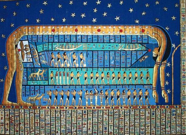 La diosa del cielo Nut en un antiguo mapa de las estrellas egipcia que difiere de la estudiada por Sarah y Elizabeth Symons Tasker.