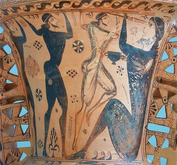 Ulisse e il suo equipaggio sono accecanti il più famoso dei Ciclopi, Polifemo. Particolare di un anfora proto-attica, intorno al 650 aC. Eleusi, Museo Archeologico.