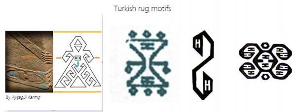 Motivi tappeto turco contengono 'H' e 'I' Simboli