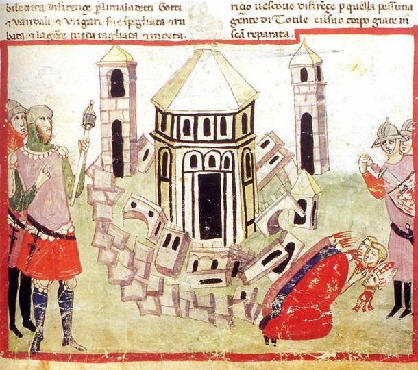Totila razes the walls of Florence: illumination from the Chigi ms of Villani's Cronica.