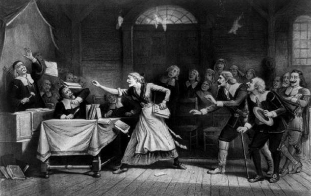 Illustration from 1892 of a witch trial.