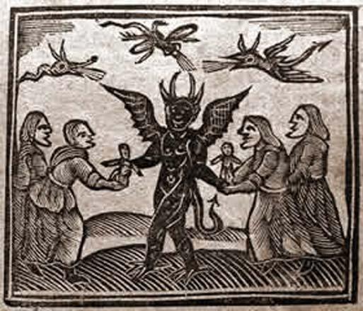 Cette image, tirée du procès d'Agnes Sampson en 1591, représente le diable donnant des poupées magiques aux sorcières.