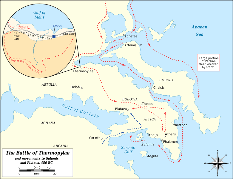Map of the Battle of Thermopylae