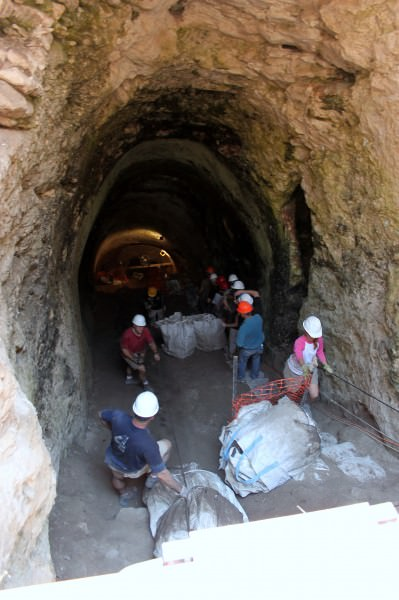 The entrance to the water system under excavation during the NOBTS team's 2011 season.