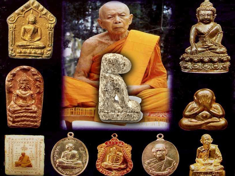 Carved Walrus Bone Tiger Amulet Luang Por Tim Wat Laharn Rai