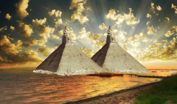 Conceito artístico das pirâmides elaborado pelo historiador grego Heródoto.