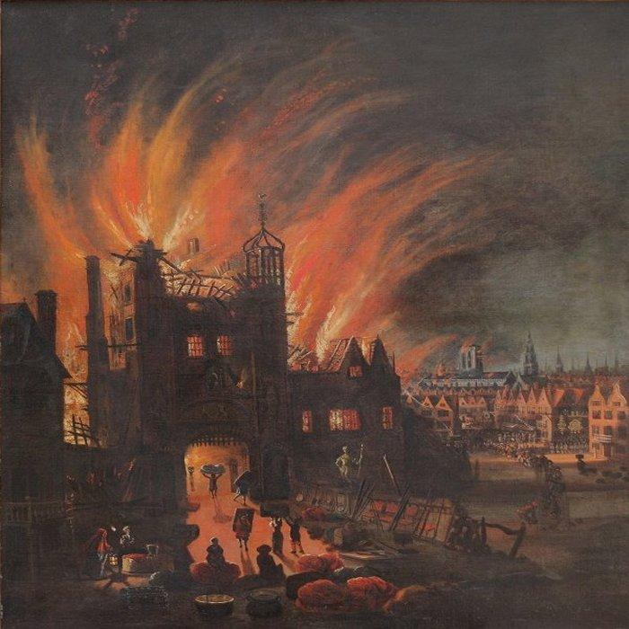 El gran incendio de Southwark (Londres), en 1212.