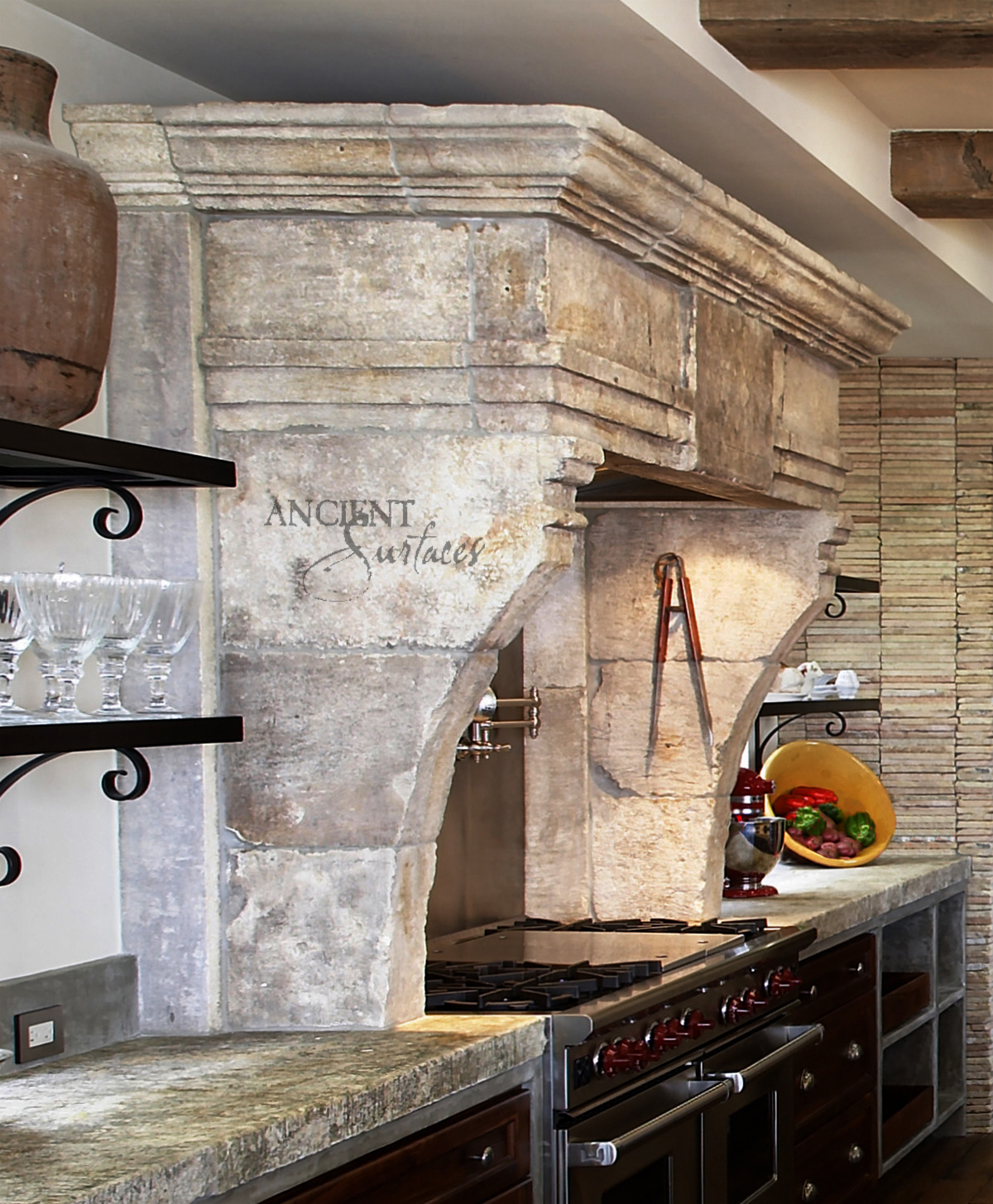 wood kitchen counters plum decor our one of a kind ancient foundation stone that ...